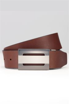 Leather Reversible Cut Out Plaque Belt