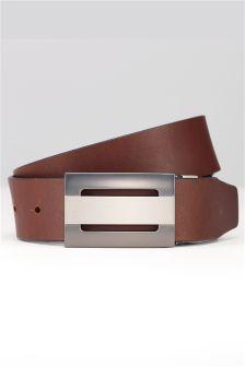 Black/Brown Leather Reversible Cut Out Plaque Belt