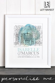 Personalised Wedding Venue Illustration By Letterfest