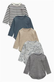 Long Sleeve Cosy Textured T-Shirts Five Pack (3mths-6yrs)