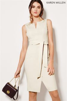 Karen Millen Ivory Waist Detail Pencil Dress