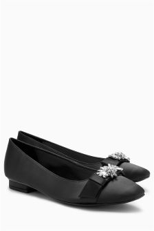 Jewelled Square Toe Ballerinas