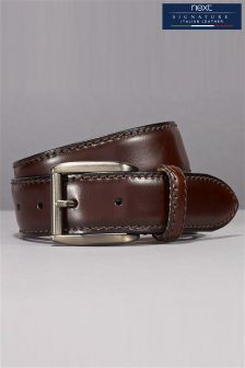 Signature Italian Leather Classic Stitch Belt