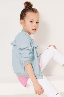 Chambray Ruffle Jacket (3-16yrs)