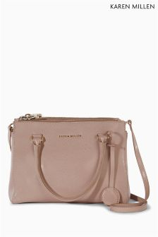 Karen Millen Nude Medium Leather Tote Bag