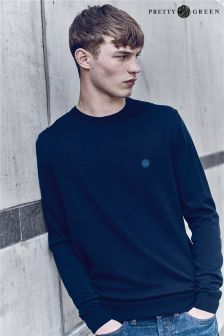 Pretty Green Navy Crew Neck Knit