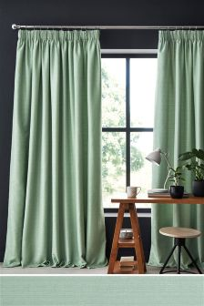 Textured Slub Studio* Pencil Pleat Lined Curtains