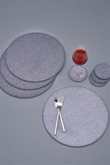 Set Of 4 Multi Glitter Placemats And Coasters