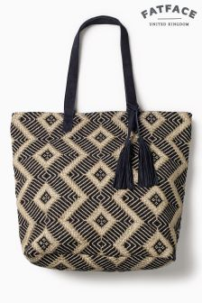 Fat Face Navy Tia Hessian Weave Shopper