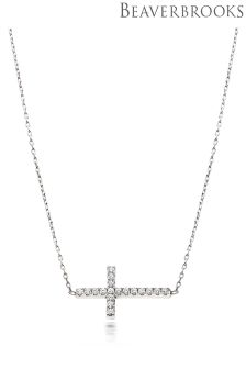 Beaverbrooks Silver Cubic Zirconia Cross Necklace