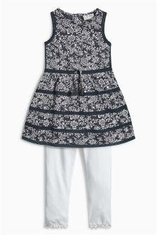 Grey Floral Dress And Leggings Set (3mths-6yrs)