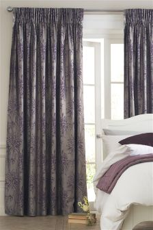 Plum Floral Jacquard Pencil Pleat Curtains
