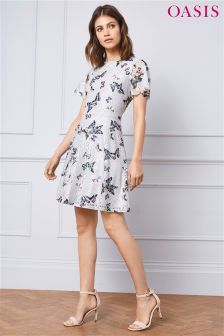 Oasis Grey Everly Lace Dress