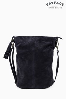 Fat Face Navy Bonnie Suede Bucket Bag