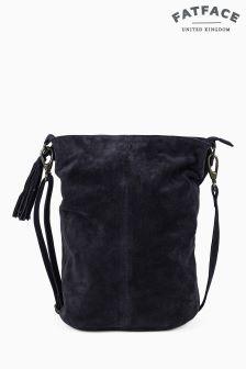 Fat Face Navy Bonnie Suede Bucket Bag