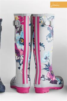 Joules Silver Posy Printed Welly