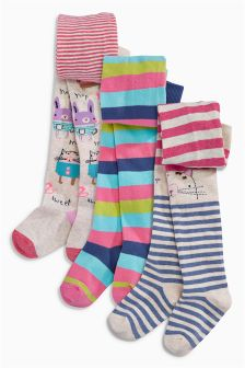 Multi Bright Character And Stripe Tights Three Pack (0mths-6yrs)
