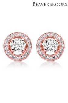 Beaverbrooks Silver Rose Gold Cubic Zirconia Stud Earrings