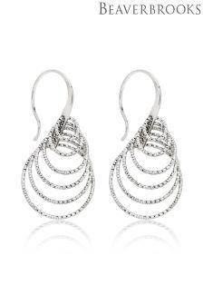 Beaverbrooks Silver Sparkle Cut Loop Drop Earrings