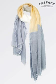 Fat Face Light Blue Camilla Colourblock Scarf
