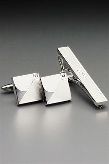 Silver Tone Diamante Tie Clip and Cufflink Set