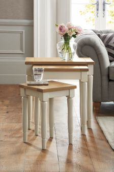 Set Of 3 Shaftesbury Painted Nest Of Tables