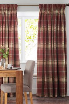 Red Woven Check Stirling Pencil Pleat Curtains