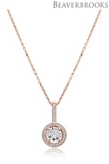 Beaverbrooks Silver Rose Gold Cubic Zirconia Pendant
