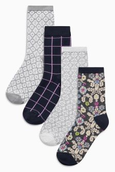Shadow Floral Pattern Socks Four Pack