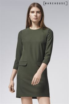 Warehouse Green Pocket Front Crepe Dress