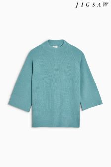 Jigsaw Blue Soft Fishermans Rib Jumper
