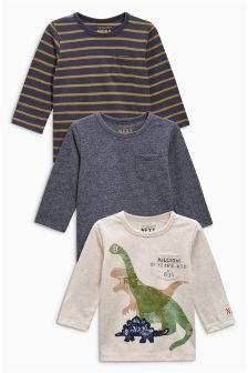 Long Sleeve Dinosaur Tops Three Pack (3mths-6yrs)