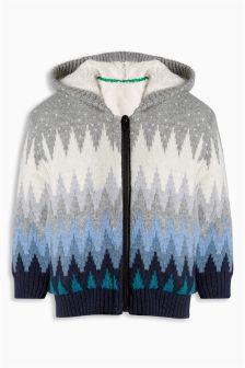 Fairisle Pattern Zip Knitted Hoody (3mths-6yrs)