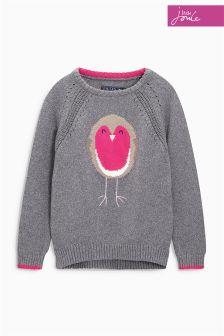 Little Joule Silver Chrissie Robin Knit Jumper