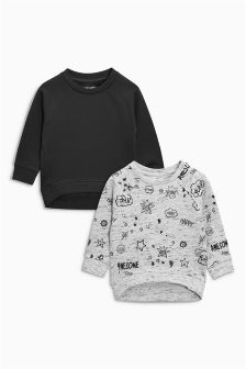 Scribble Printed Crews Two Pack (3mths-6yrs)