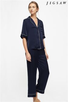 Jigsaw Navy Silk Pyjama Set