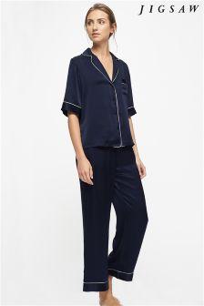 Jigsaw Navy Silk Pyjama Set