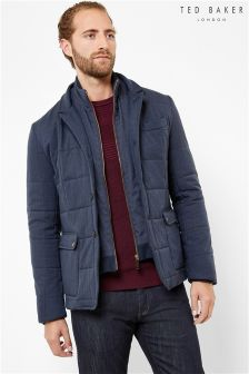 Ted Baker Navy Square Quilted Jacket