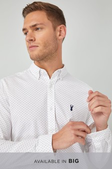 Long Sleeve Printed Stretch Oxford Shirt