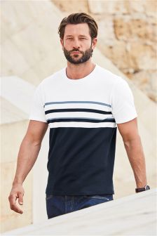 T-Shirt With Navy Block Stripes