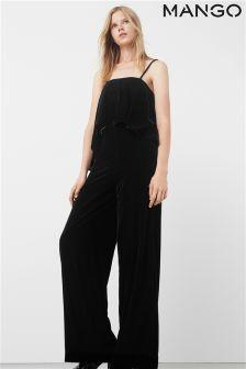 Mango Black Velvet Jumpsuit