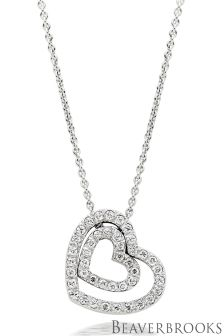 Beaverbrooks Silver Cubic Zirconia Double Heart Pendant