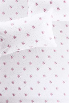 Cotton Rich Pink Floral Fitted Sheet Set