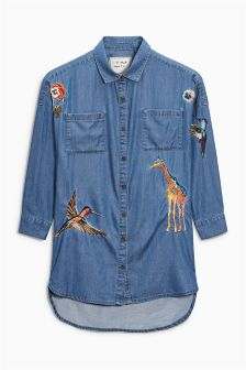 Animal Embroidered Longline Shirt (3-16yrs)