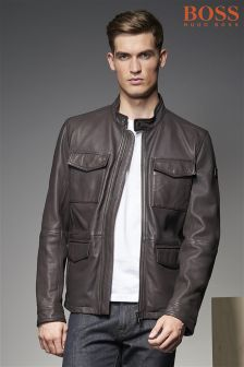 Boss Orange Brown Jeep 4 Pocket Leather Jacket