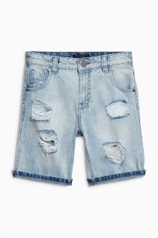 Distressed Denim Five Pocket Shorts (3-16yrs)