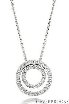 Beaverbrooks Silver Cubic Zirconia Double Circle Necklace