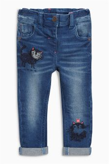 Cat Embroidered Jeans (3mths-6yrs)