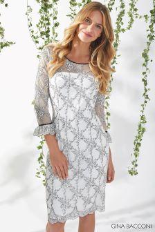 Gina Bacconi White Misty Embroidery Dress