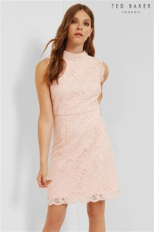 Ted Baker Pink High Neck Lace Mini Dress